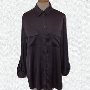 Sisters Pewter Stretch Poly Blouse NWT- Size L